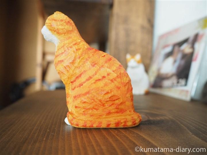 木彫り猫スコティッシュフォールド左