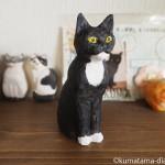 木彫りで黒白猫さんを作りました
