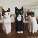 「ネコリパブリック東京お茶の水店」のキジトラ白猫さんをモデルに木彫り猫を作りました