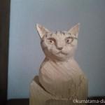 木彫り猫の顔を作る練習