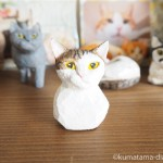 保護猫カフェの猫さんの顔の木彫りを作りました