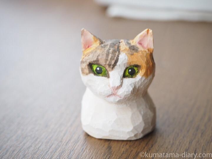 木彫り三毛猫マグネット