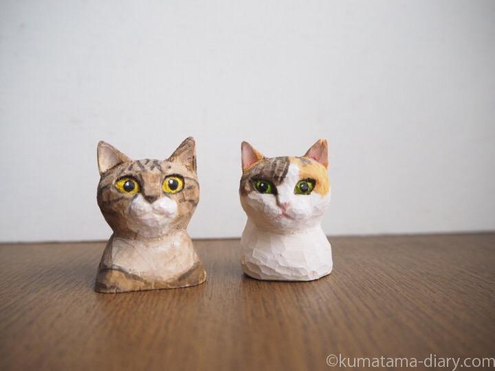 木彫り猫三毛猫キジトラ猫