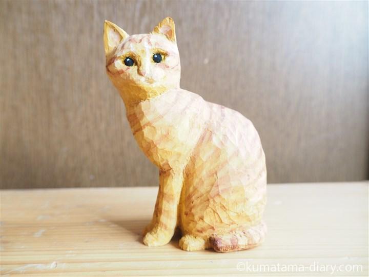 茶トラ猫さん木彫り