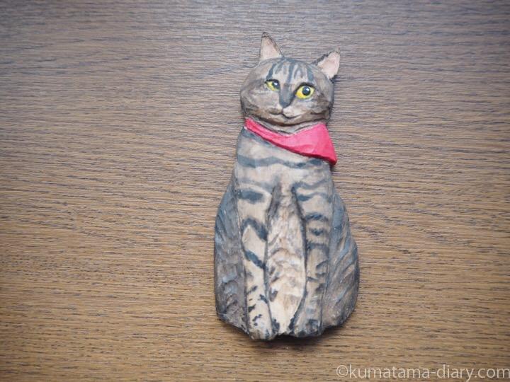 おはぎちゃんの木彫り猫マグネット