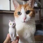 木彫りでオッドアイの白猫さんを作りました
