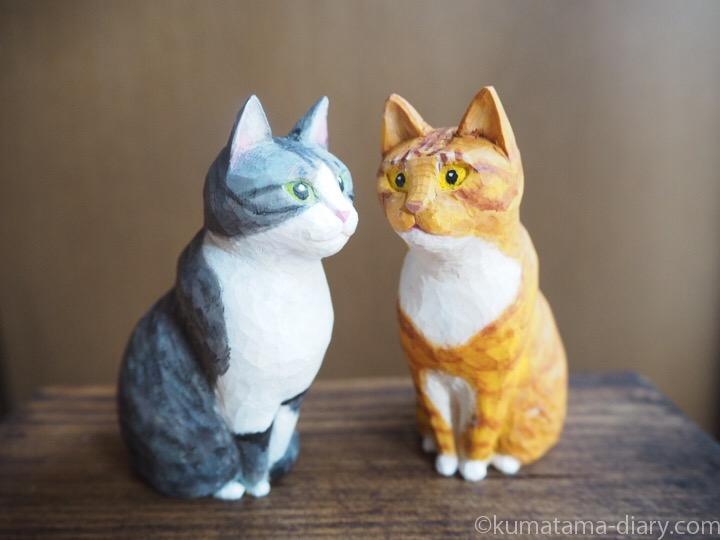 木彫りサバトラ白猫茶トラ白猫