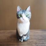 木彫りのサバトラ白猫さんを作りました