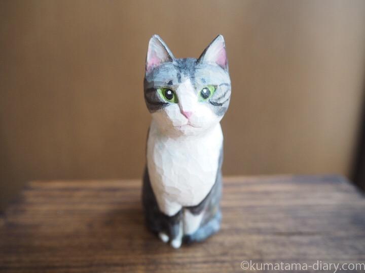 サバトラ白猫さん木彫り