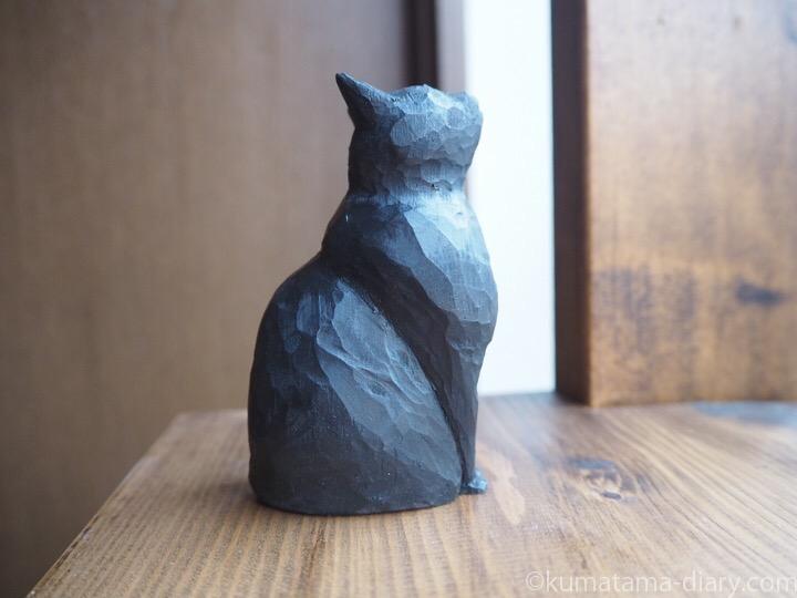 黒猫さん木彫り猫右