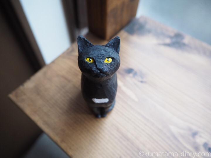 黒猫さん木彫り猫顔