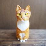 木彫りの茶トラ白猫さんを作りました