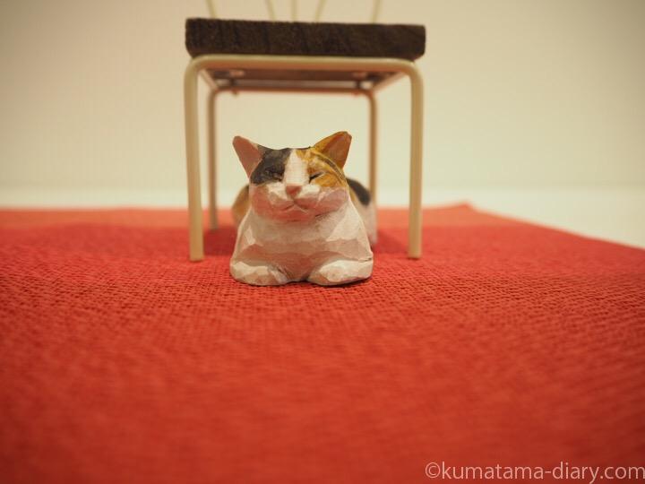 三毛猫木彫り
