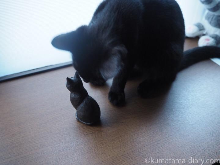 木彫り猫をもてあそぶふみお