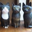 木彫り猫3体