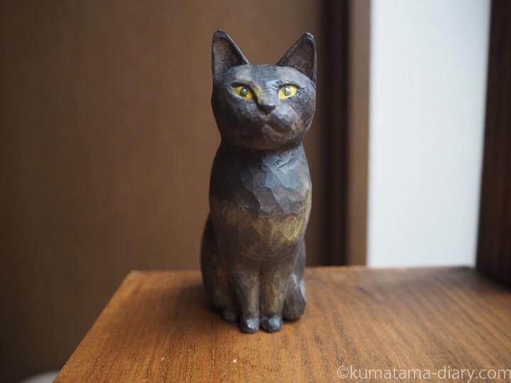 サビ猫木彫り