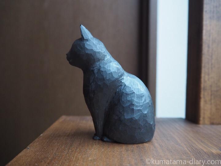 木彫り黒猫左