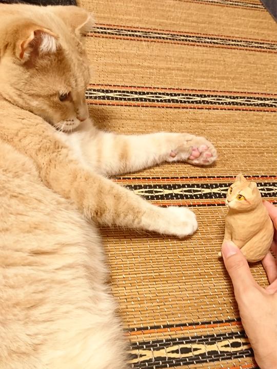 マイケルくんと木彫り猫