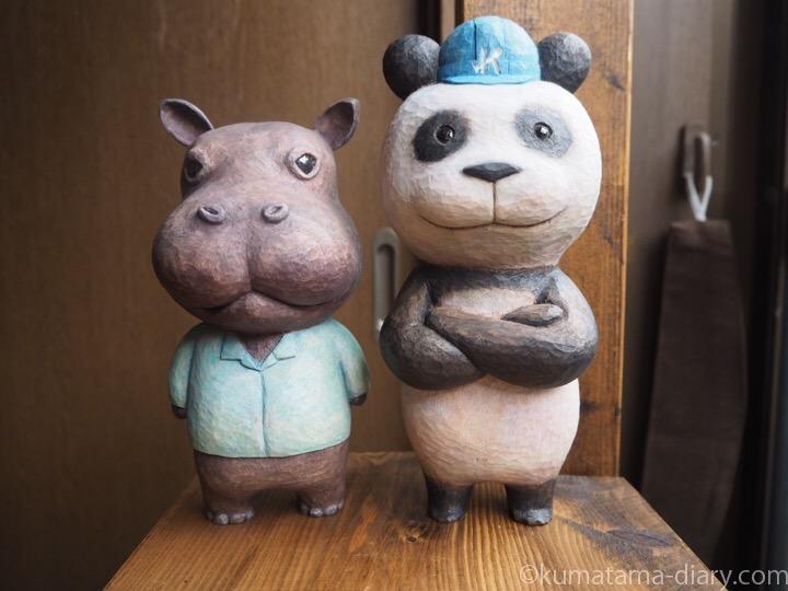 木彫りパンダとカバ