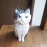立ち耳のスコティッシュフォールドの木彫り猫を作りました