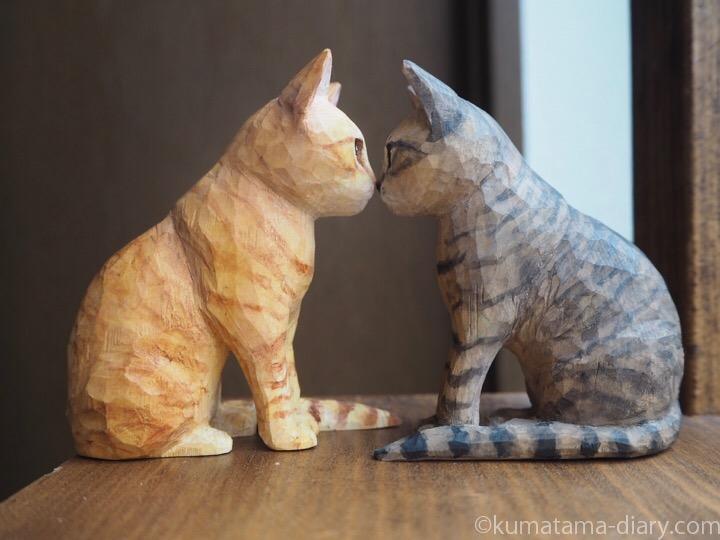 木彫り猫ナナくんとテオくん