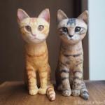 キジトラと茶トラの子猫を木彫りで作りました