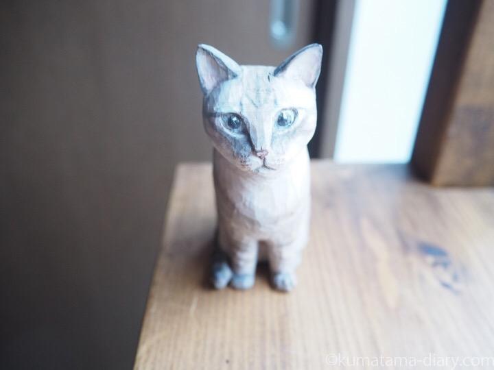 サバトラ白玉くん木彫り猫