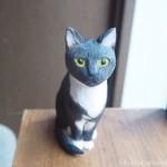 黒白猫さんの木彫り猫を作りました