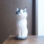 白黒猫さんの木彫り猫を作りました