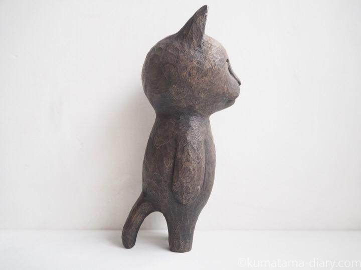 ふみおの木彫り猫右