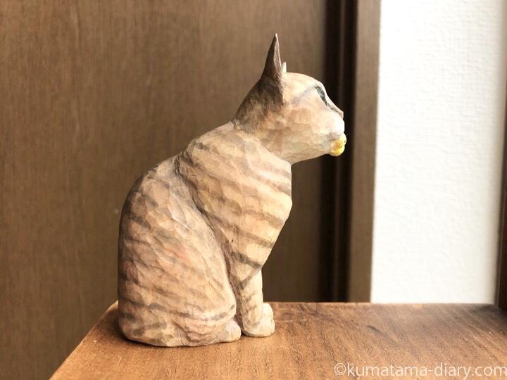 キジトラ猫さん木彫り猫右