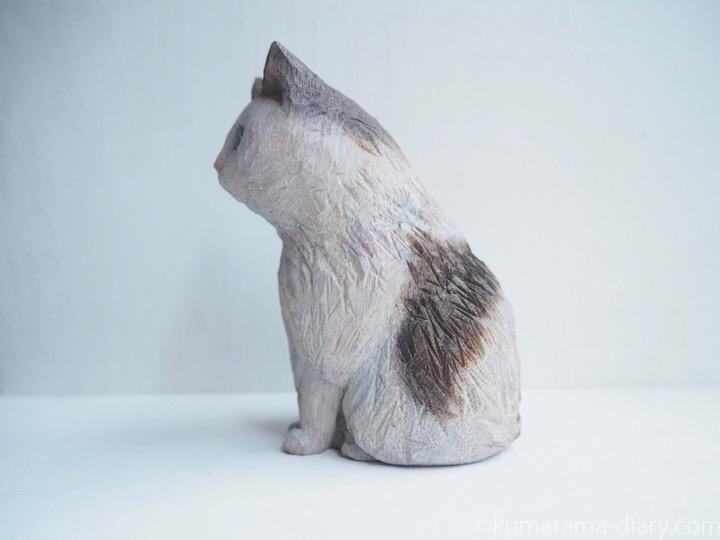 長毛猫木彫り猫