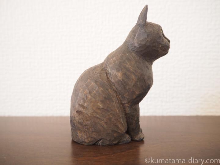 黒猫木彫り猫右