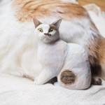 キジトラ白猫さんの木彫り猫を作りました