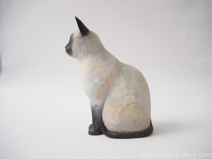シャム猫木彫り猫左