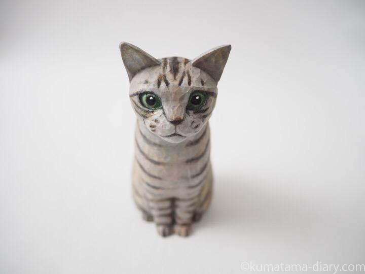サバトラ猫木彫り猫