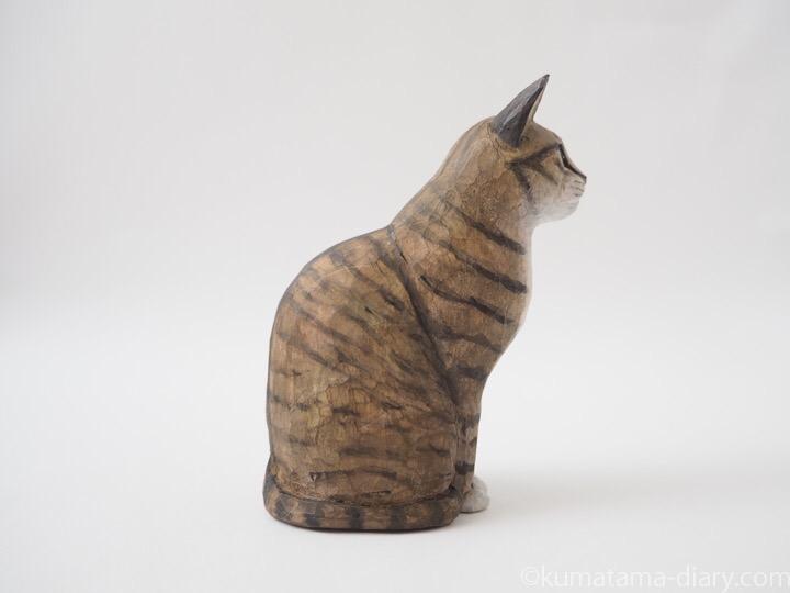 キジトラ白猫木彫り猫右