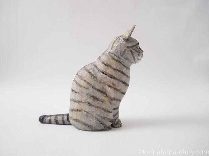 サバトラ猫木彫り猫右