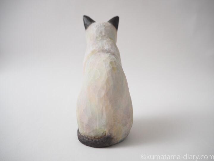 シャム猫木彫り猫後ろ