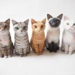 最近作った木彫り猫たち