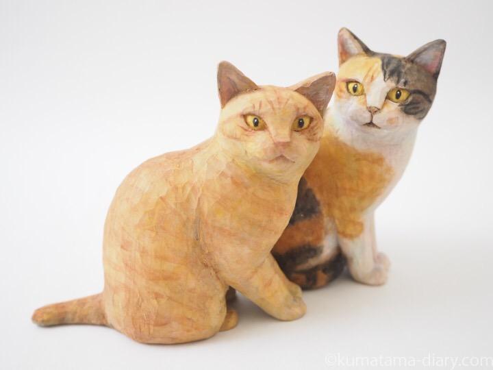 三毛猫さん茶トラ猫さん木彫り猫