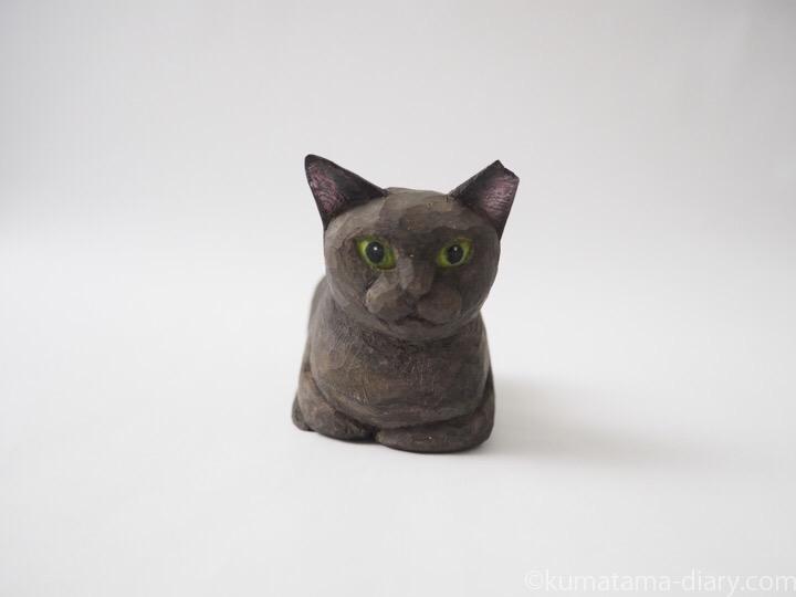 香箱座り黒猫木彫り猫