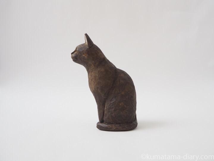バーミーズ木彫り猫左