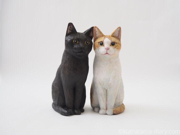 たまきとふみおの木彫り猫