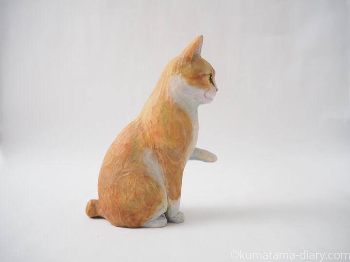 お手クリーム白猫木彫り猫右