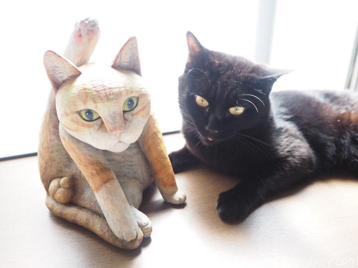 にゃんたまがある木彫り猫とふみお
