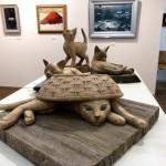 島田紘一呂さんの木彫り猫をアートギャラリー884で見ました