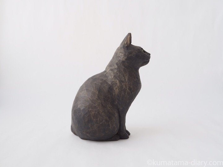 グレー猫さん木彫り猫右
