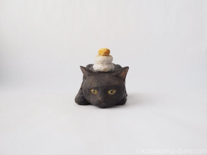 木彫り猫黒猫鏡餅