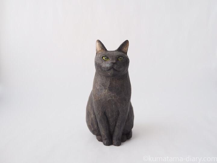 グレー猫さん木彫り猫